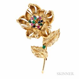 "18kt Gold Gem-set ""Open-and-Shut"" Flower Brooch, Cartier"