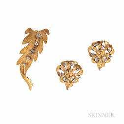 14kt Gold and Diamond Leaf Brooch and Earrings