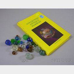 Approximately Twenty-one Mica/Snowflake Glass Marbles