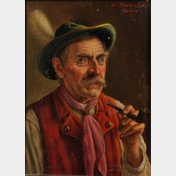 Walter Roessler (German, 1893-1960)      Pair of Portaits of Bavarian Farmers