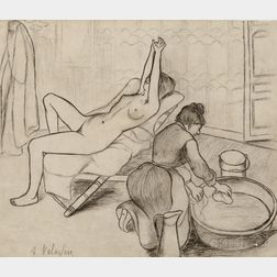 Suzanne Valadon (French, 1865-1938)      Adele preparant le tub et Ketty aux bras levés