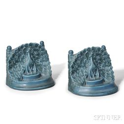 Rookwood Pottery Peacock Bookends