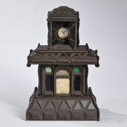 Tramp Art House-shaped Shelf Clock