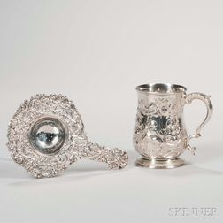 English Sterling Silver Repousse Mug and a Silver-plated Tea Strainer