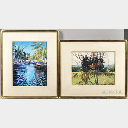 Christopher Huntington (American, b. 1938)      Two Works: Silence of Autumn, Shin Pond