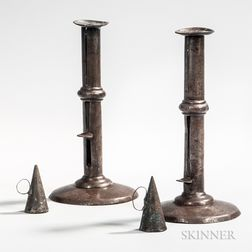 Pair of Iron Hogscraper Candlesticks with Tin Dousing Cones