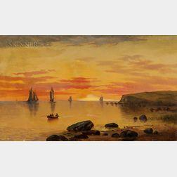 Charles Day Hunt (American, 1840-1914)      Sunset Coastal Scene