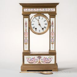 Neoclassical-style Dore Bronze and Porcelain Cartel Clock