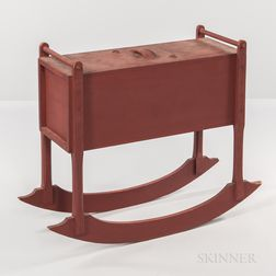Shaker Red-painted Rocking Churn