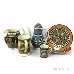 Six Don Carpentier Mocha-decorated Earthenware