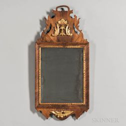 Walnut Veneer and Gilt-gesso Mirror