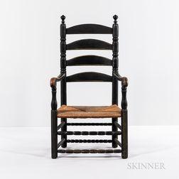 Black-painted Slat-back Armchair