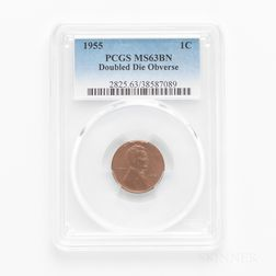 1955 Doubled Die Obverse Lincoln Cent, PCGS MS63BN.     Estimate $1,200-1,500