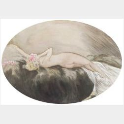 Attributed to Louis Icart (French, 1888-1950)  Reclining Female Nude with Flowers in Her Hair