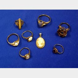 Group of Gold Gem-set Rings