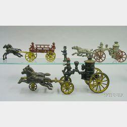 Three Cast Iron Horse-Drawn Fire Vehicles