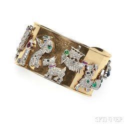 Art Deco Platinum, Diamond, and Gemstone Charm-mounted Cuff