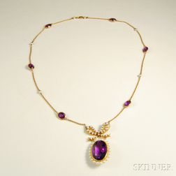 14kt Gold, Amethyst, and Pearl Necklace