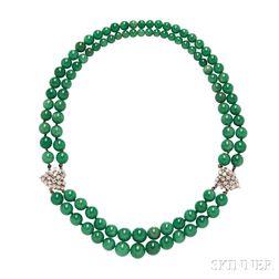 Double-strand Aventurine Bead Necklace