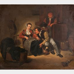 Attributed to Cornelis Pietersz Bega (Dutch, c. 1631-1664)      Seated Woman, a Man Leaning into Her Lap Offering Her a Coin