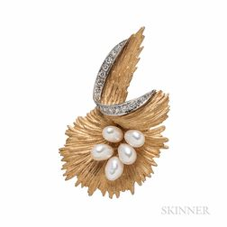 14kt Gold, Freshwater Pearl, and Diamond Brooch