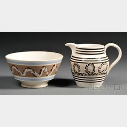 Mochaware Bowl and Pitcher