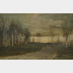 George Howell Gay (American, 1858-1931)      Country Road Lined with Birch Trees in Late Autumn