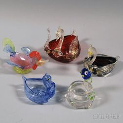 Five Venetian Glass Bird-form Salts