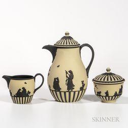 Three-piece Wedgwood Primrose on Solid Black Jasper Coffee Set