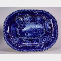Large Blue and White Transfer Decorated Staffordshire Platter