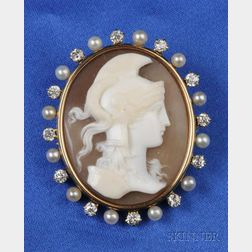 Antique Diamond and Seed Pearl Shell Cameo Brooch