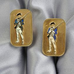 14kt Gold and Enamel Cuff Links, Cartier
