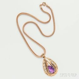 18kt Gold and Amethyst Pendant and Necklace