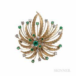 F&F Felger 14kt Gold, Emerald, and Diamond Brooch
