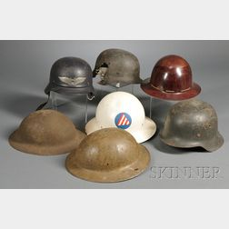 Group of Seven Military Helmets