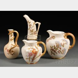 Four Royal Worcester Porcelain Jugs