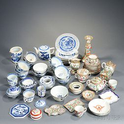 Group of Rose Medallion Palette and Canton Porcelain Items