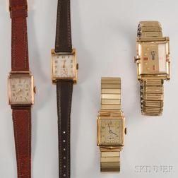 Lady's Four Vintage Gold Wristwatches