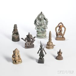 Eight Assorted Miniature Bronze Items