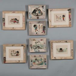 Eight Golliwogg Prints with Hand-painted Frames
