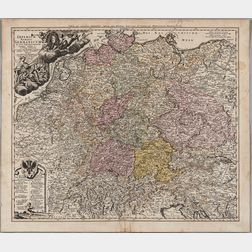 Germany, Holy Roman Empire, Northeastern Europe. Johann Baptist Homann (1664-1724) Imperium Romano-Germanicum in Suos Circulos Divisum.