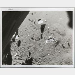 Apollo 14, Lunar Module Leaves the Moon [and] Future Landing Site of Apollo 16 Taken from Apollo 14.