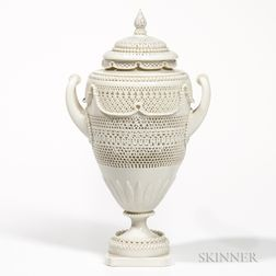 Worcester Porcelain Reticulated Vase and Cover