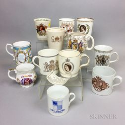 Twelve British Royal Commemorative Porcelain Cups.     Estimate $20-200