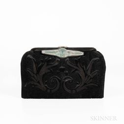 Vintage Black Silk Embroidered Evening Bag with Lalique Molded Glass Clasp