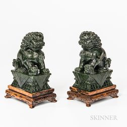 Pair of Spinach Green Hardstone Foo Lions