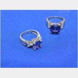 Two Tanzanite and Diamond  Rings