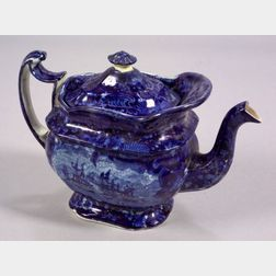 Blue and White Transfer Decorated Staffordshire Pottery Teapot