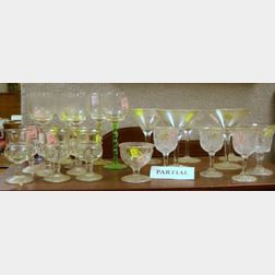 Approximately Thirty-nine Pieces of Glass Stem and Tableware and an Etched Colorless Blown Flip Glass.