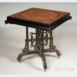 Aesthetic Movement Black Lacquer, Painted and Brass-mounted Center Table